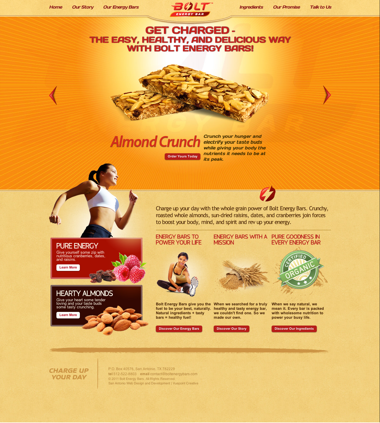 Web design home page for Bolt Energy Bars
