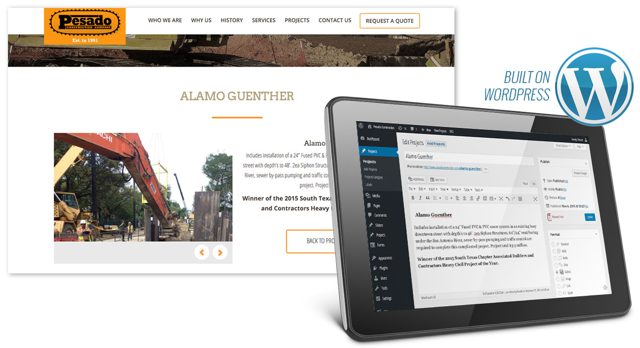 Custom WordPress CMS for Construction Company Website