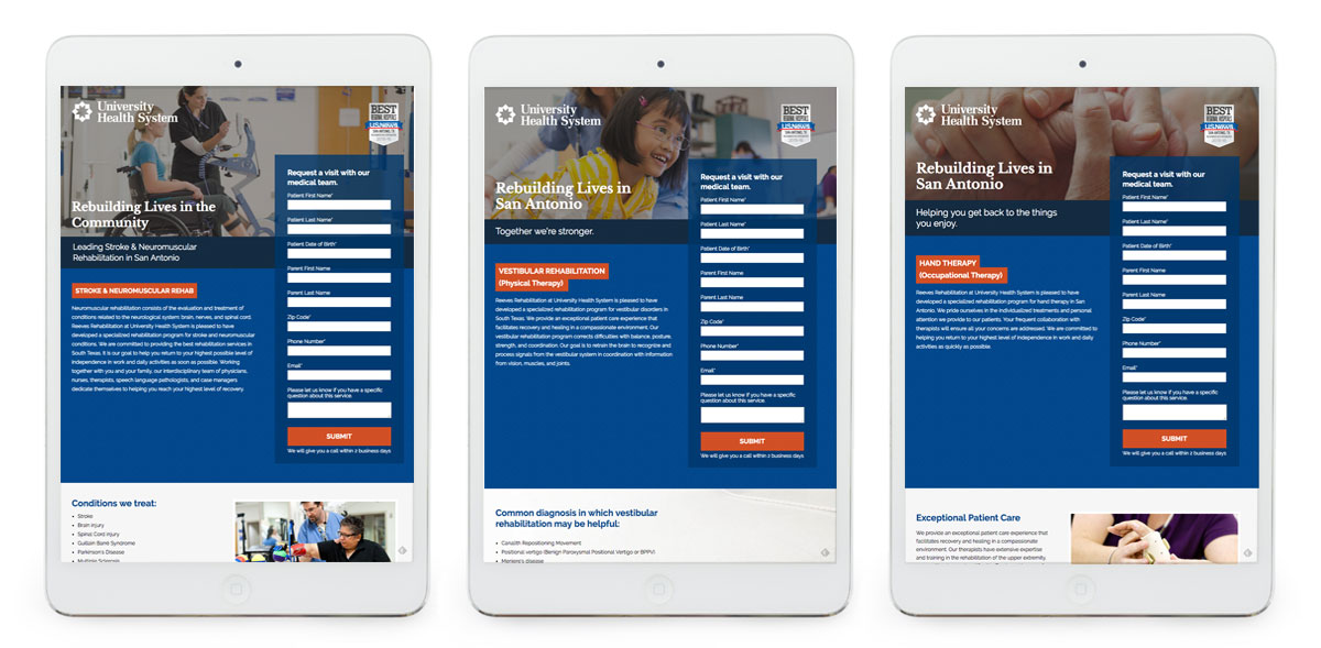 Reeves Rehab Landing Pages for Campaign